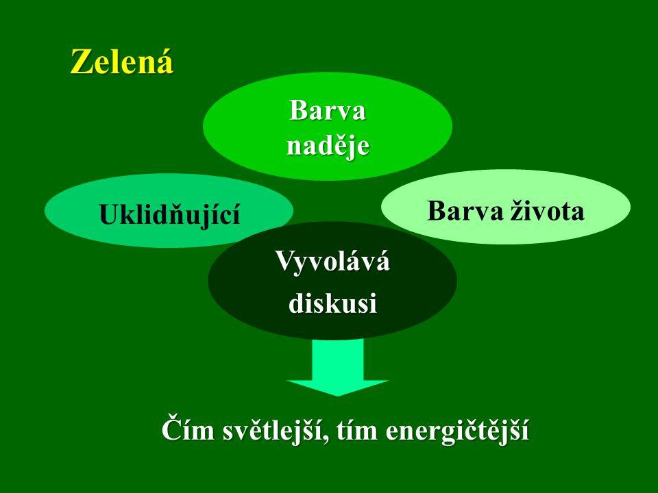 Zelená Barva naděje Barva života Uklidňující Vyvolává diskusi
