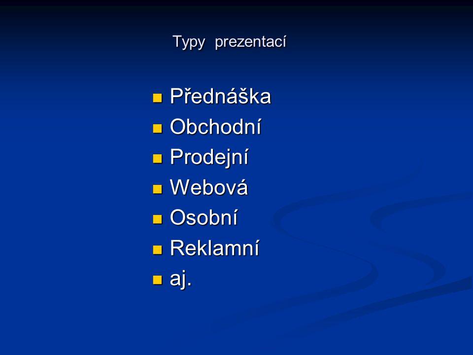 Typy prezentací Přednáška Obchodní Prodejní Webová Osobní Reklamní aj.