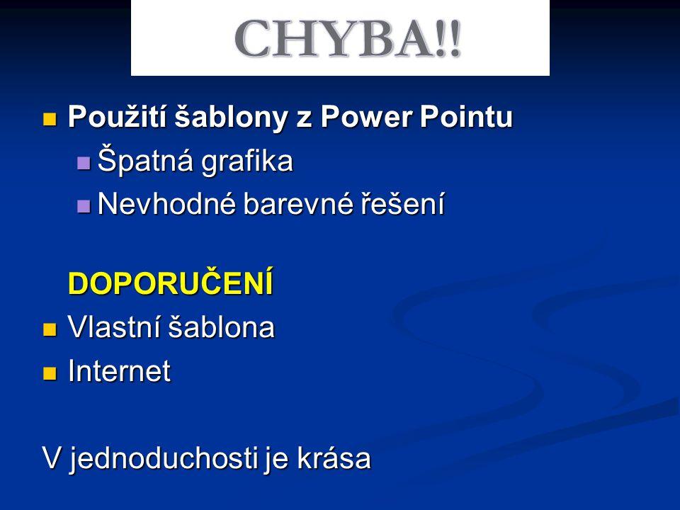 CHYBA!! Použití šablony z Power Pointu Špatná grafika