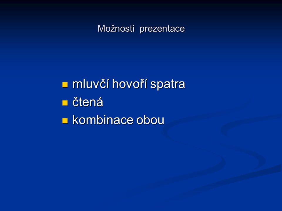 Možnosti prezentace mluvčí hovoří spatra čtená kombinace obou