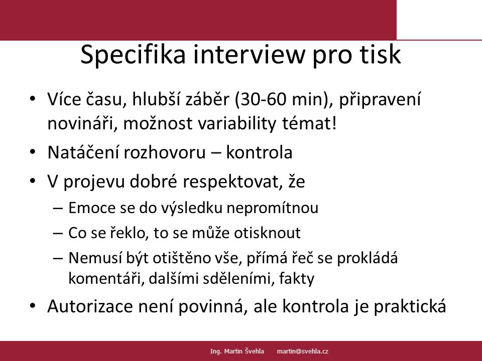 Specifika interview pro tisk