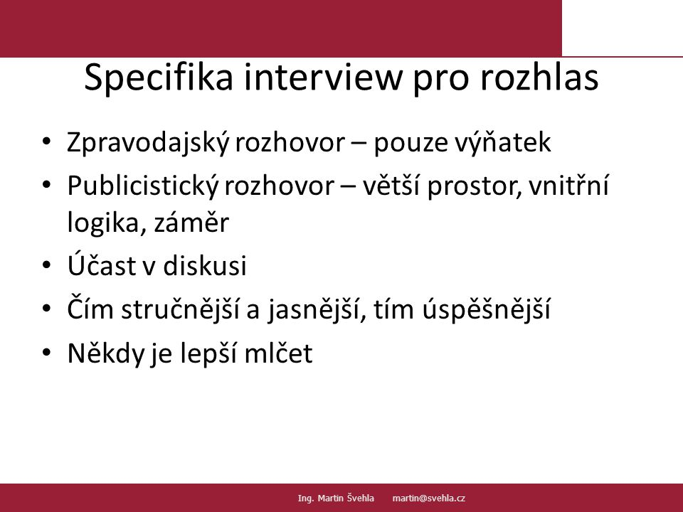Specifika interview pro rozhlas
