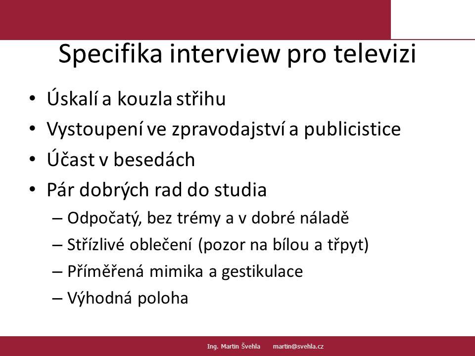 Specifika interview pro televizi
