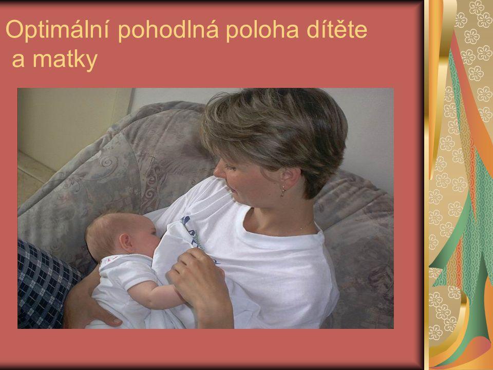 Optimální pohodlná poloha dítěte a matky