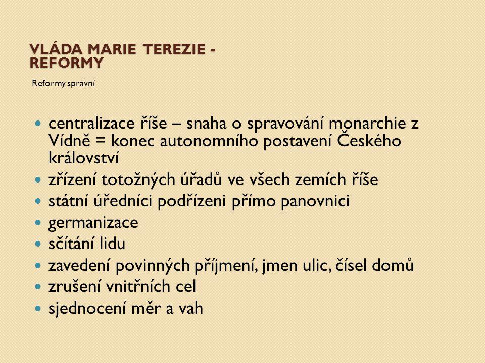 vláda Marie Terezie - reformy