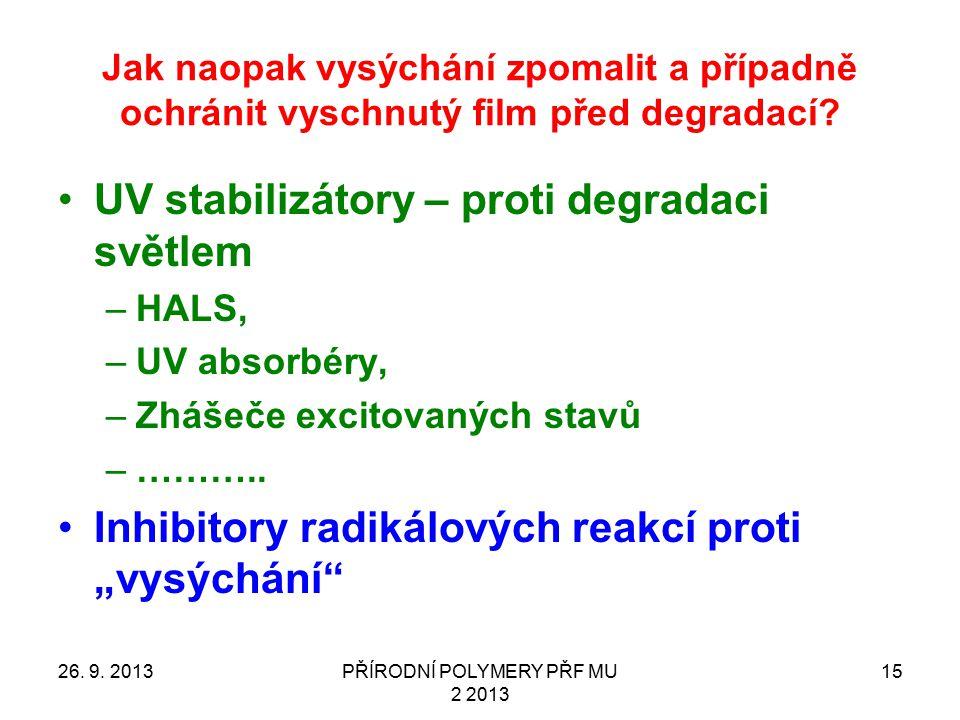 PŘÍRODNÍ POLYMERY PŘF MU 2 2013