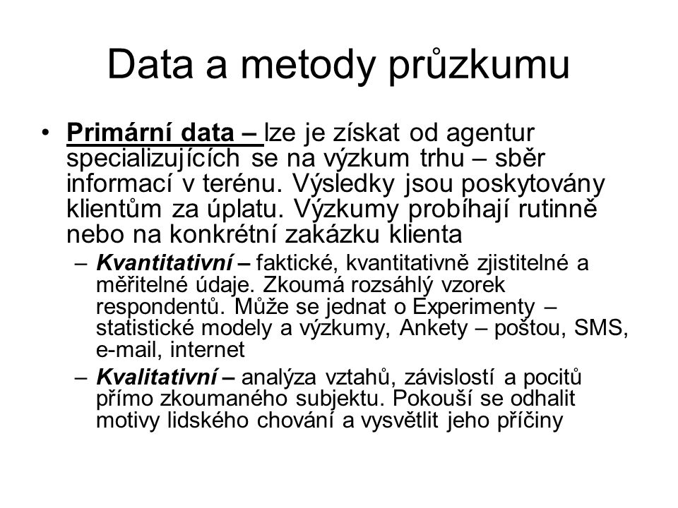 Data a metody průzkumu