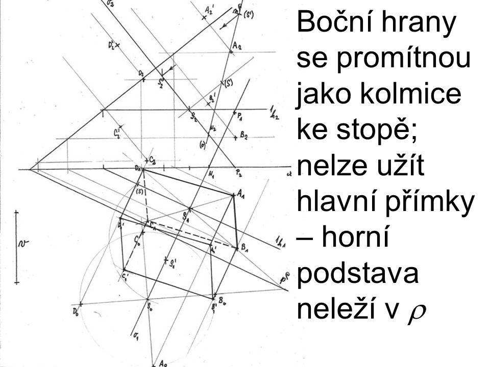 Boční hrany se promítnou jako kolmice ke stopě; nelze užít hlavní přímky – horní podstava neleží v r