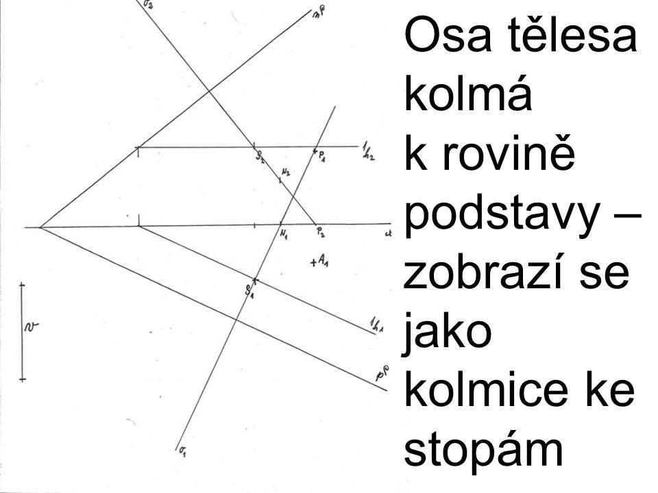 Osa tělesa kolmá k rovině podstavy – zobrazí se jako kolmice ke stopám