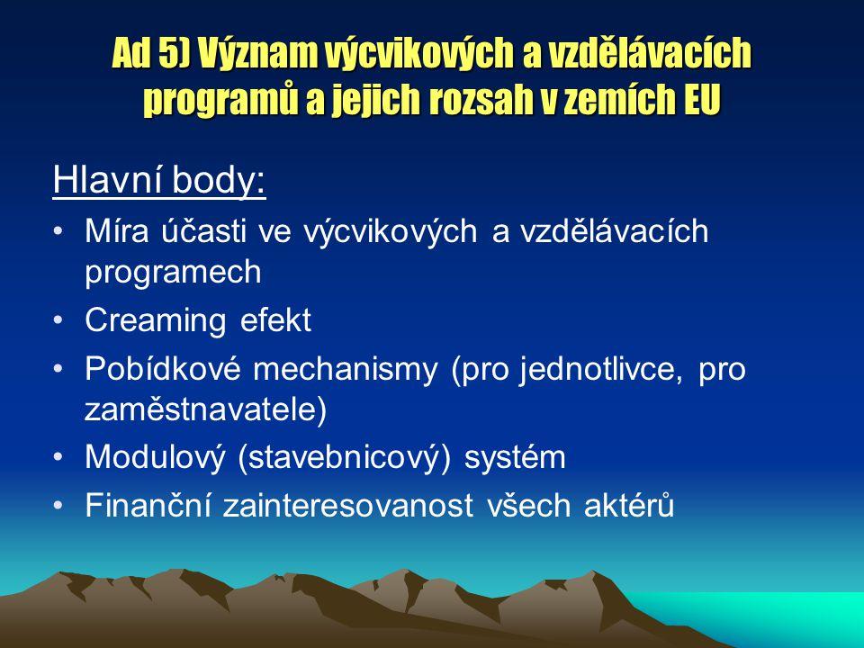 Ad 5) Význam výcvikových a vzdělávacích programů a jejich rozsah v zemích EU