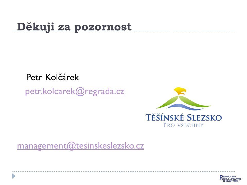 Děkuji za pozornost Petr Kolčárek petr.kolcarek@regrada.cz