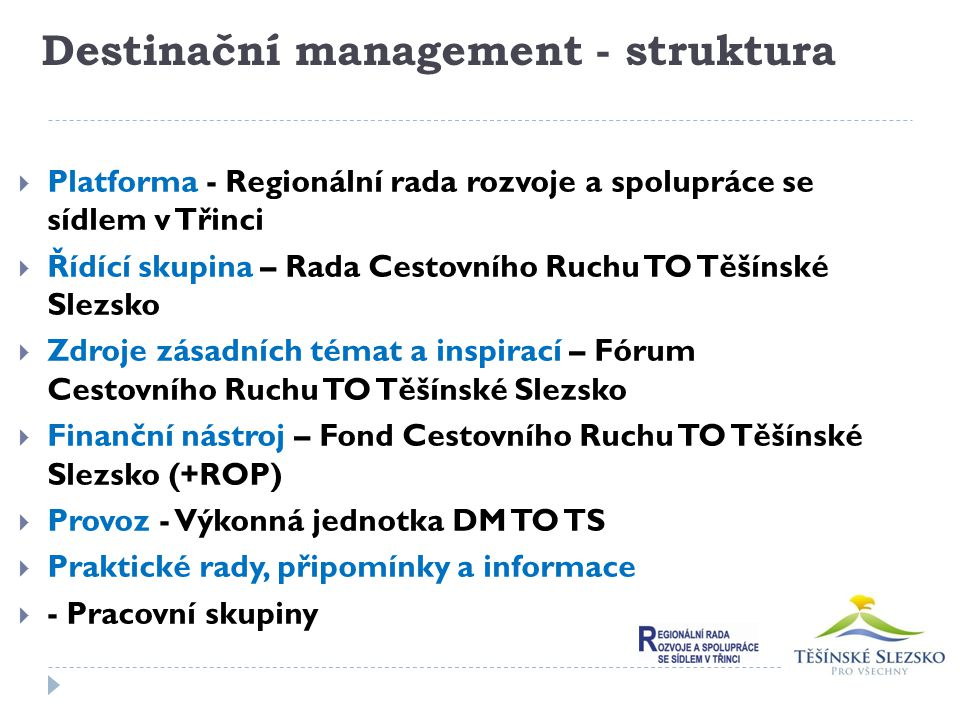 Destinační management - struktura