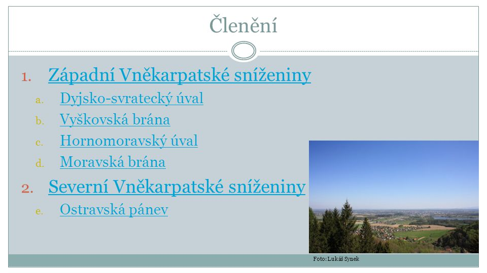 Členění Západní Vněkarpatské sníženiny Severní Vněkarpatské sníženiny