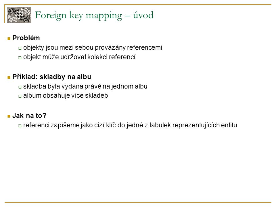 Foreign key mapping – úvod