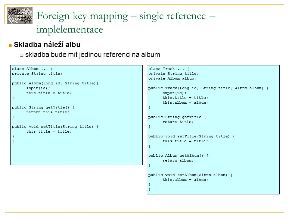 Foreign key mapping – single reference – implelementace