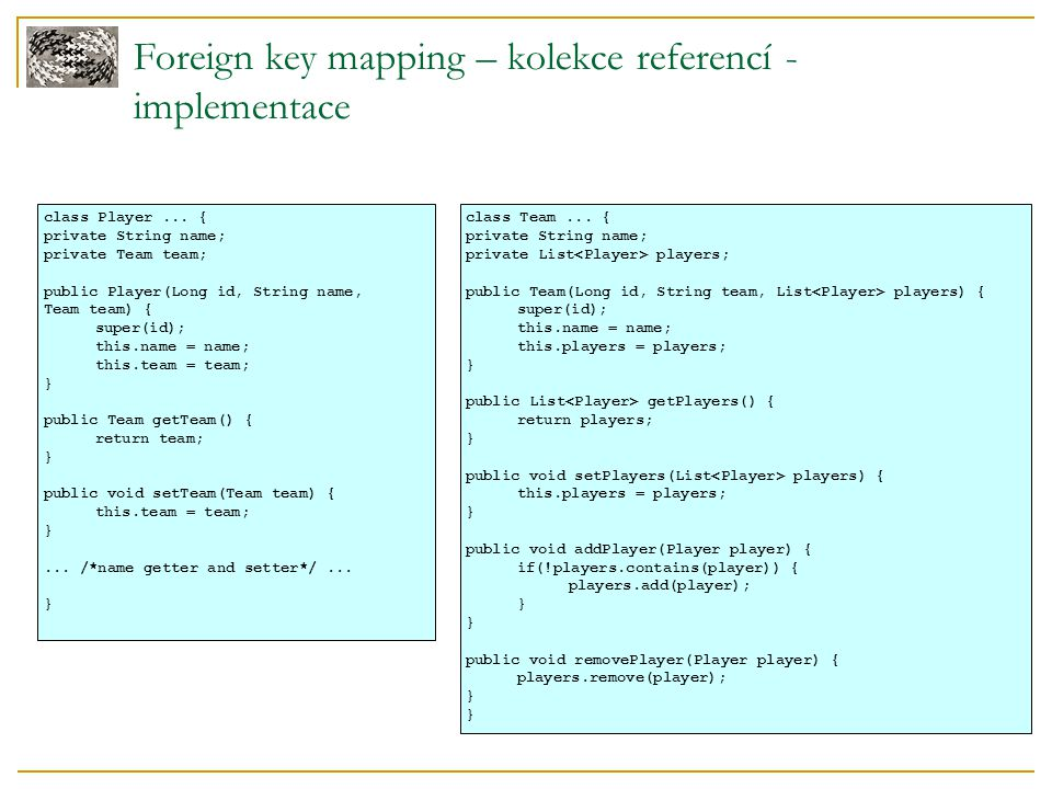 Foreign key mapping – kolekce referencí - implementace