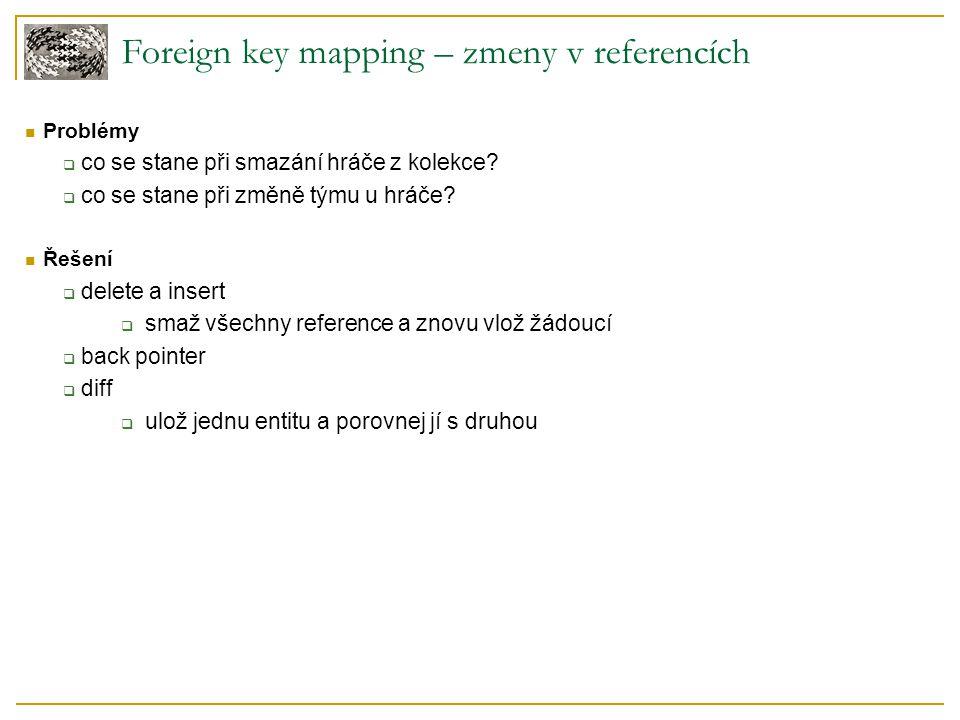 Foreign key mapping – zmeny v referencích