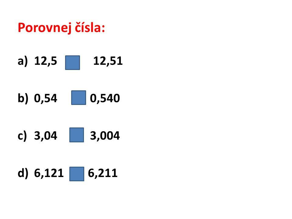 Porovnej čísla: 12,5 < 12,51 0,54 = 0,540 3,04 > 3,004