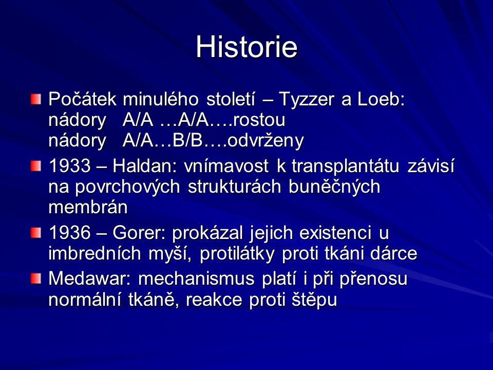 Historie Počátek minulého století – Tyzzer a Loeb: nádory A/A …A/A….rostou nádory A/A…B/B….odvrženy.