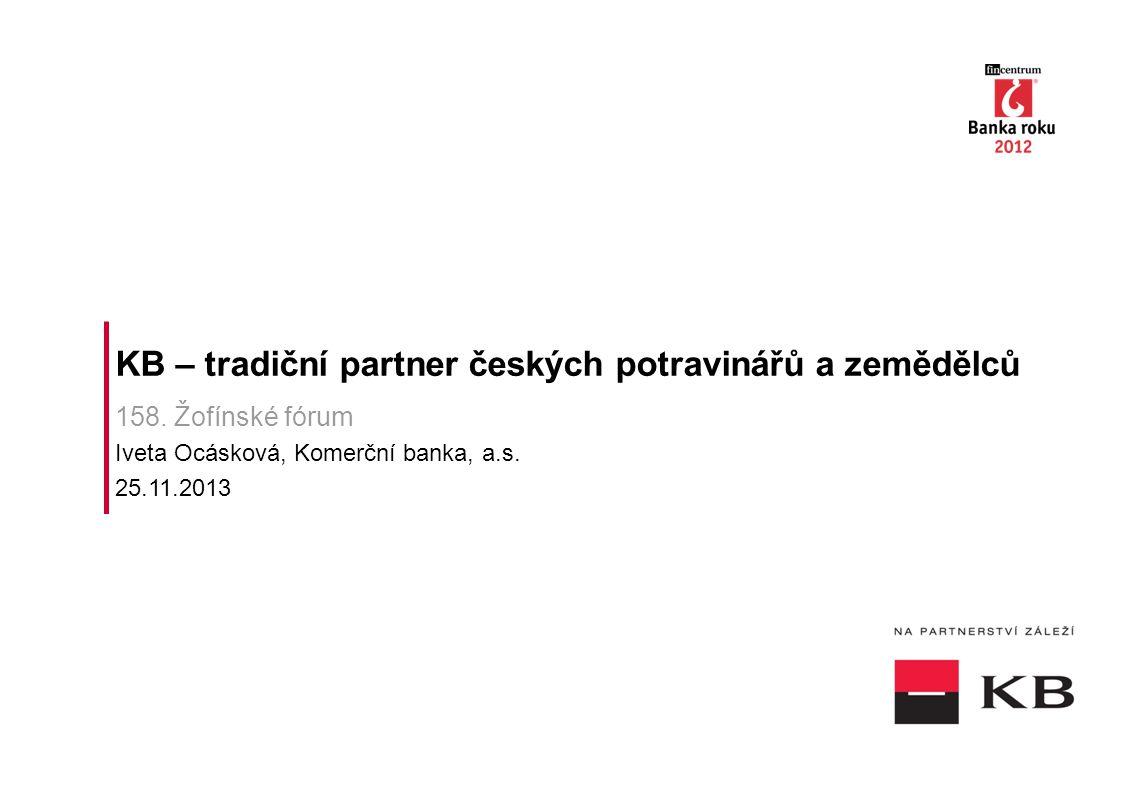 KB – tradiční partner českých potravinářů a zemědělců