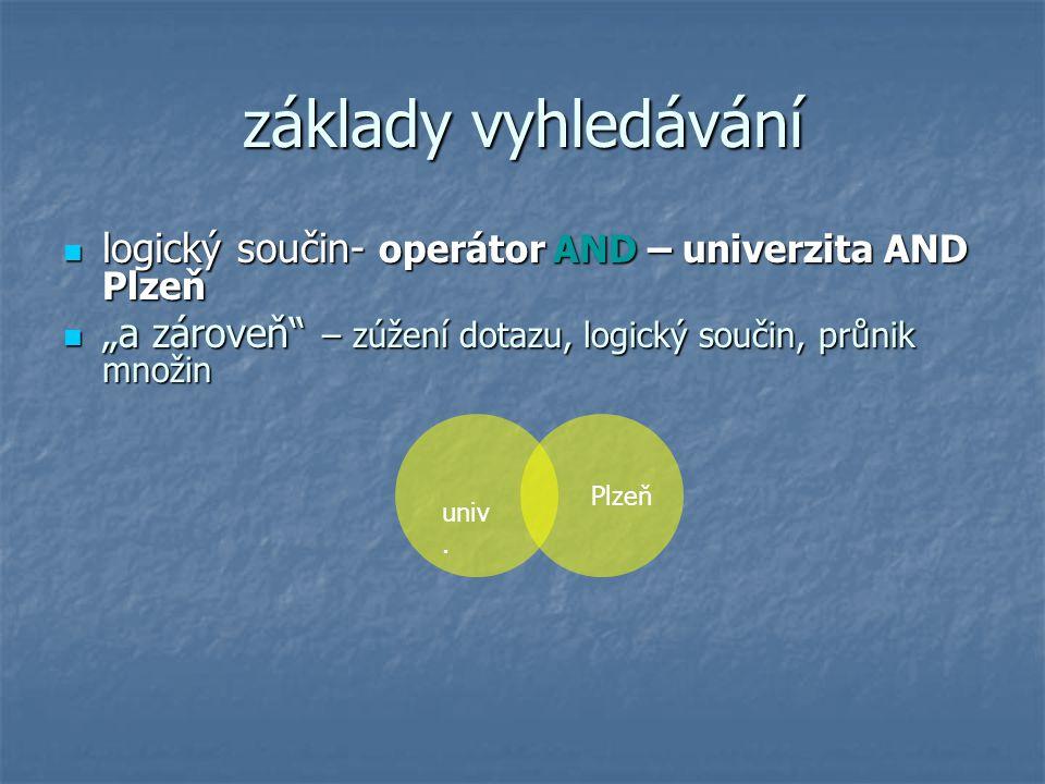 """základy vyhledávání logický součin- operátor AND – univerzita AND Plzeň. """"a zároveň – zúžení dotazu, logický součin, průnik množin."""