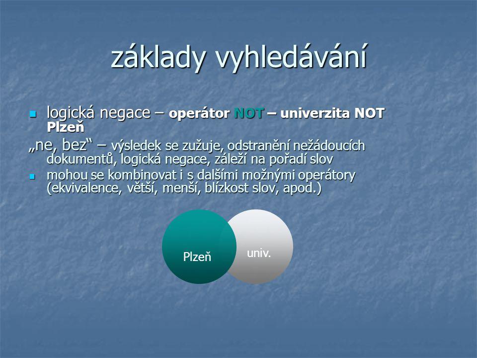 základy vyhledávání logická negace – operátor NOT – univerzita NOT Plzeň.