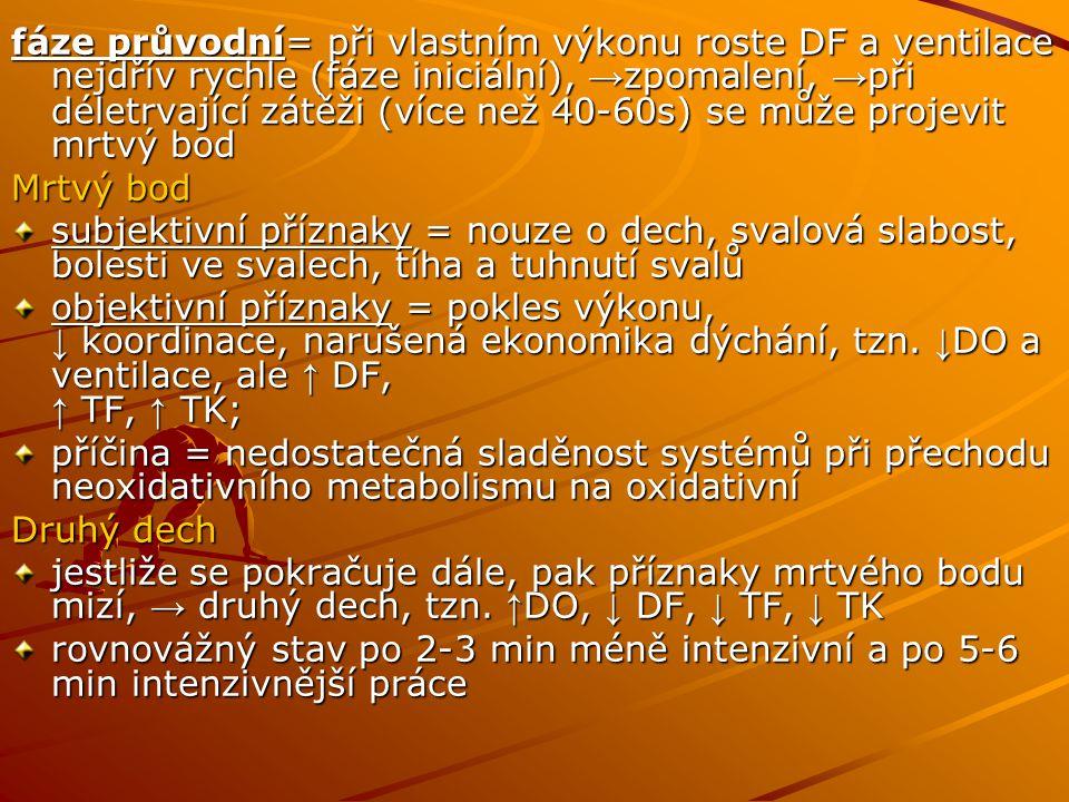 fáze průvodní= při vlastním výkonu roste DF a ventilace nejdřív rychle (fáze iniciální), →zpomalení, →při déletrvající zátěži (více než 40-60s) se může projevit mrtvý bod