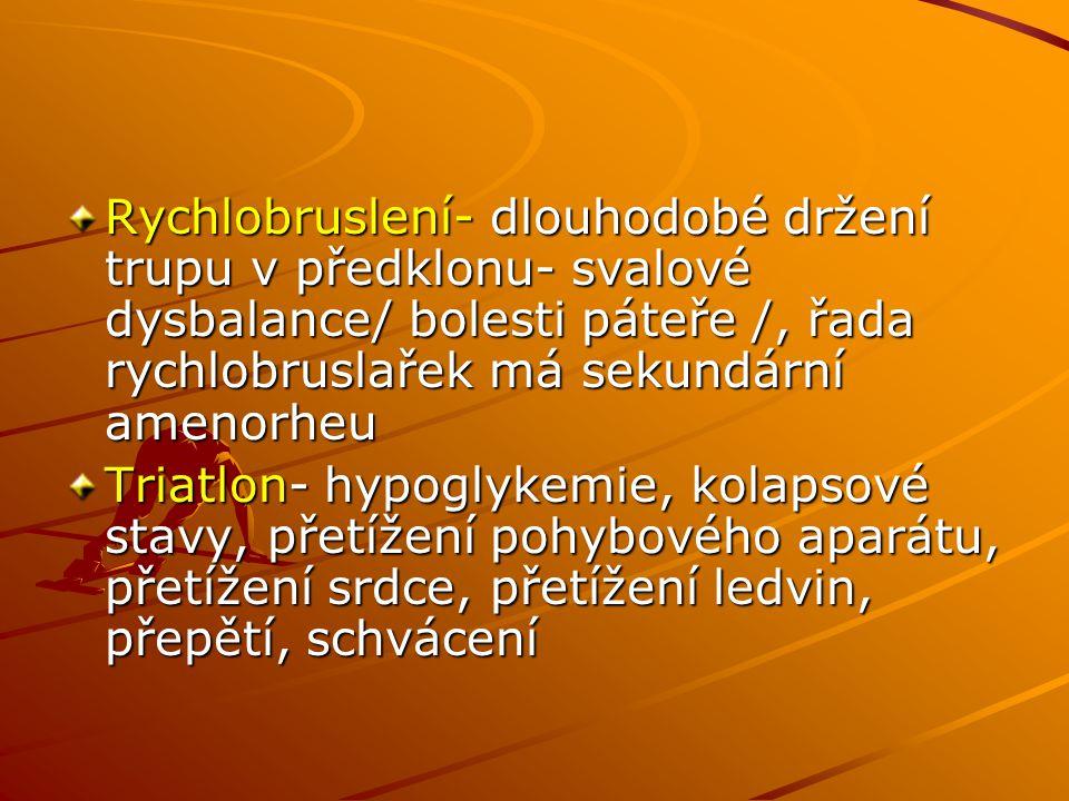 Rychlobruslení- dlouhodobé držení trupu v předklonu- svalové dysbalance/ bolesti páteře /, řada rychlobruslařek má sekundární amenorheu