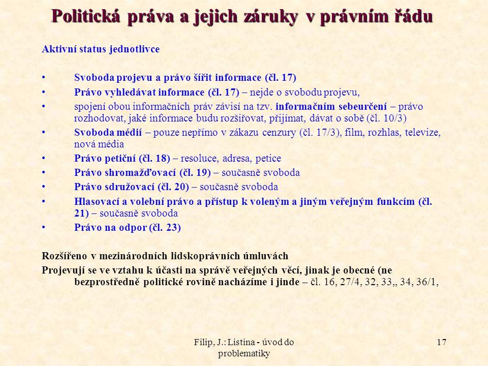 Politická práva a jejich záruky v právním řádu