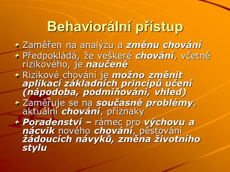 Behaviorální přístup Zaměřen na analýzu a změnu chování