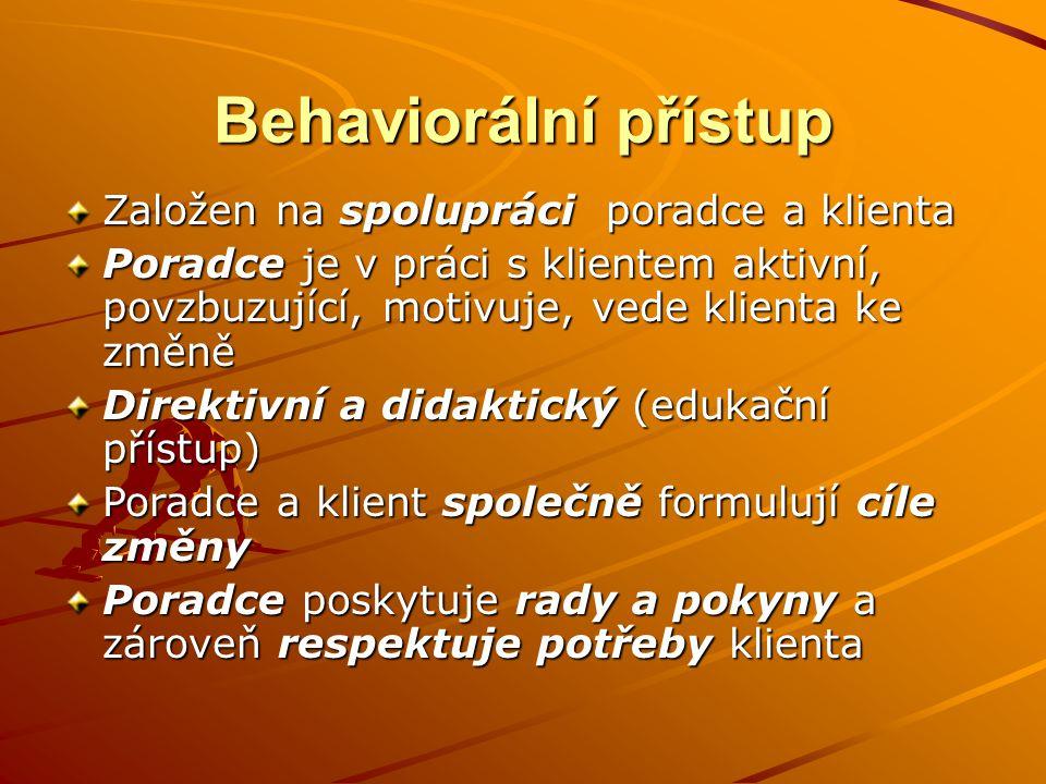 Behaviorální přístup Založen na spolupráci poradce a klienta