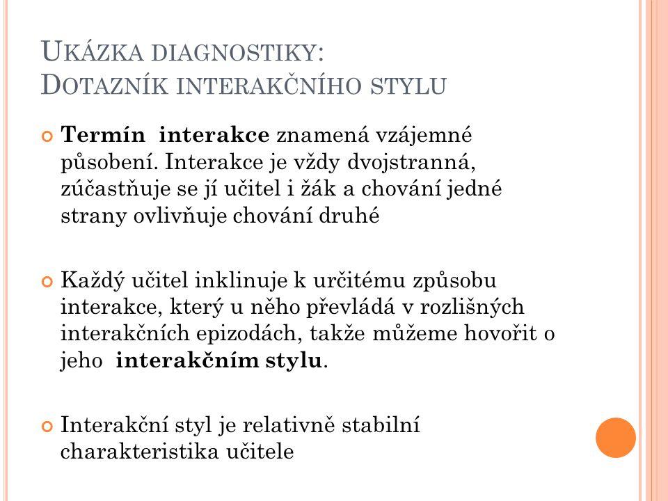 Ukázka diagnostiky: Dotazník interakčního stylu