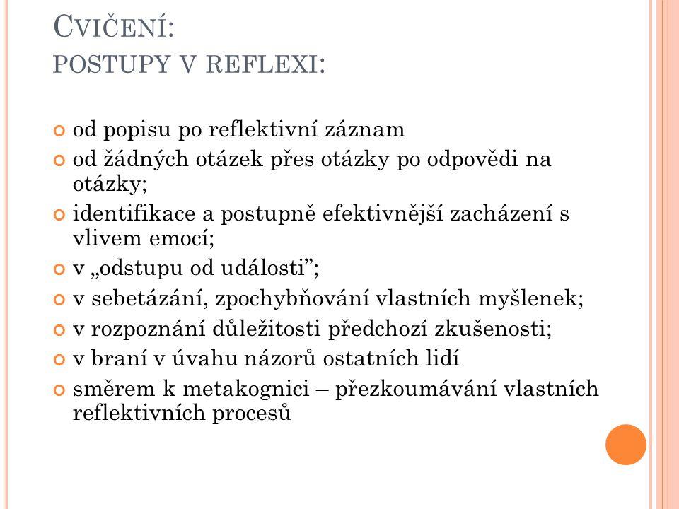 Cvičení: postupy v reflexi: