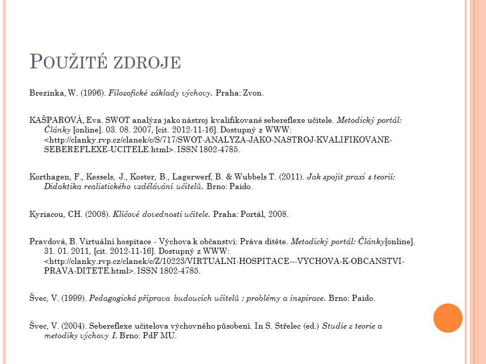 Použité zdroje Brezinka, W. (1996). Filozofické základy výchovy. Praha: Zvon.