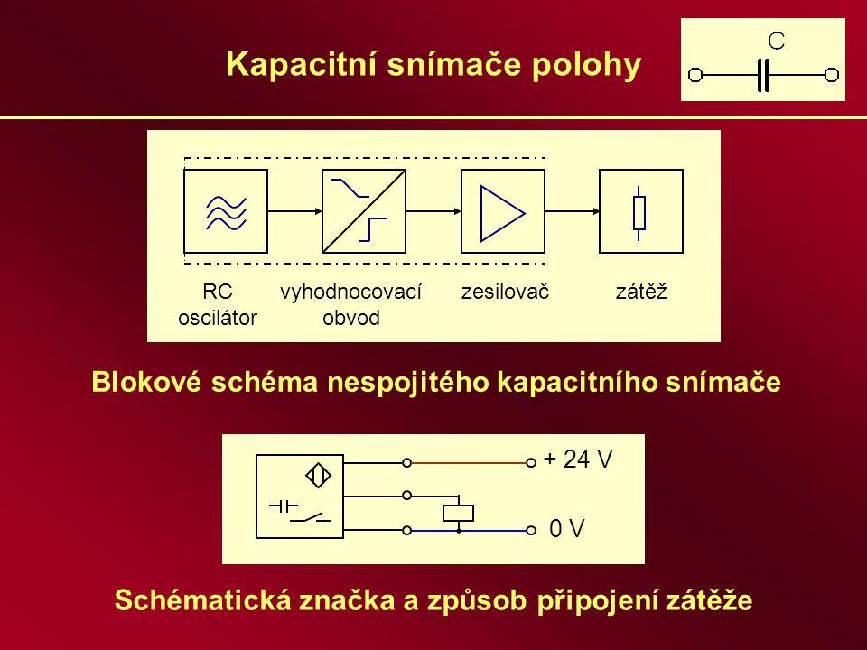 Kapacitní snímače polohy Schématická značka a způsob připojení zátěže