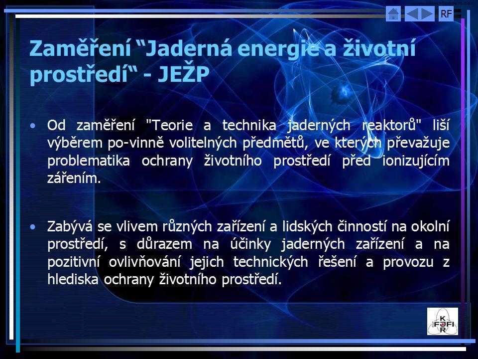 Zaměření Jaderná energie a životní prostředí - JEŽP