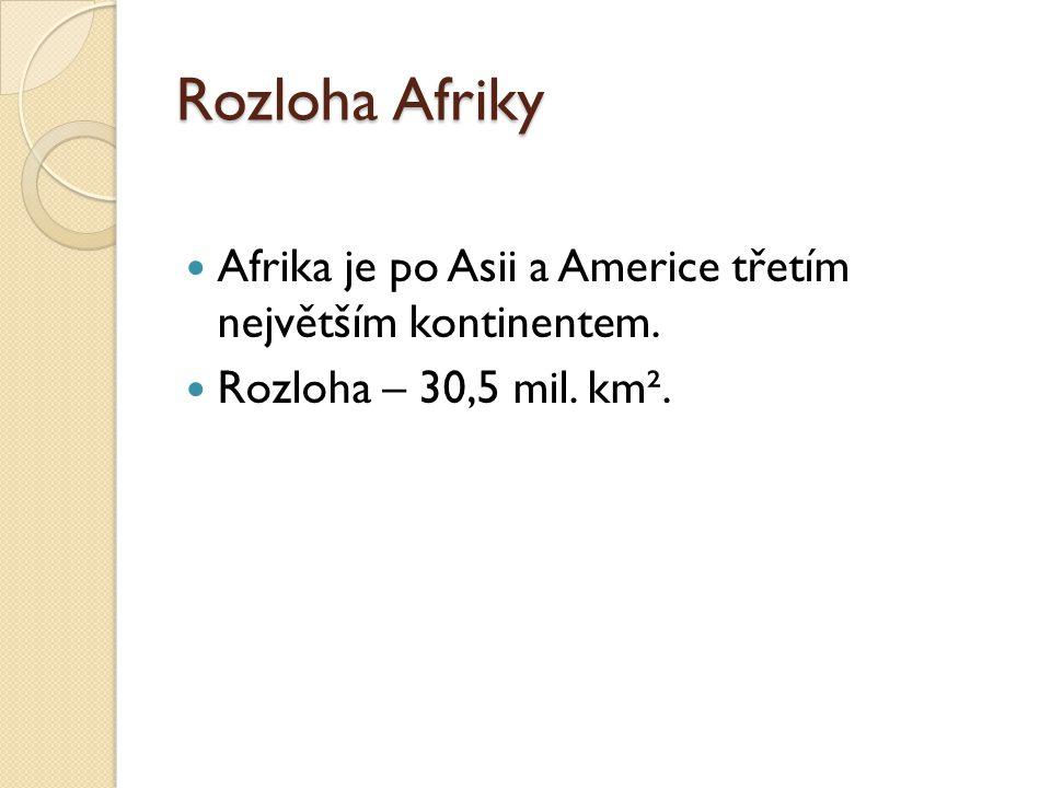 Rozloha Afriky Afrika je po Asii a Americe třetím největším kontinentem. Rozloha – 30,5 mil. km².