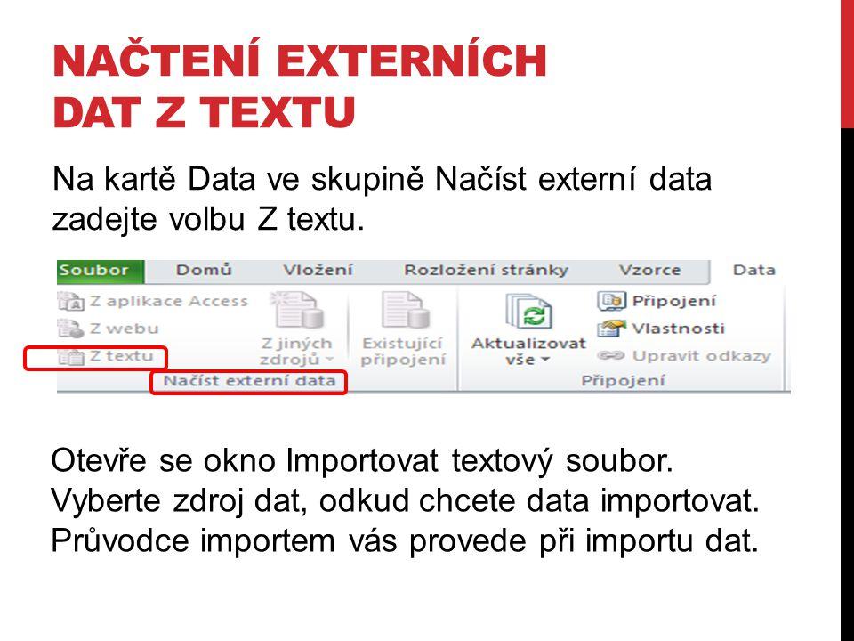 Načtení externích dat z textu