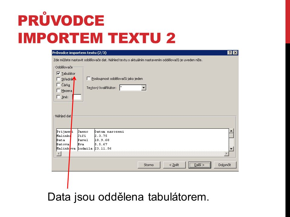 Průvodce importem textu 2