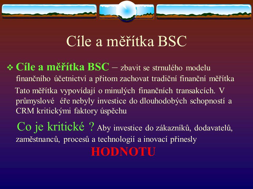 Cíle a měřítka BSC Cíle a měřítka BSC – zbavit se strnulého modelu finančního účetnictví a přitom zachovat tradiční finanční měřítka.