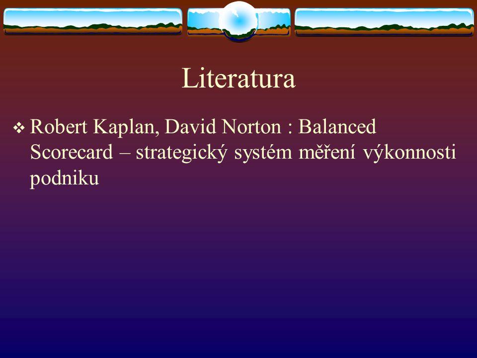 Literatura Robert Kaplan, David Norton : Balanced Scorecard – strategický systém měření výkonnosti podniku.