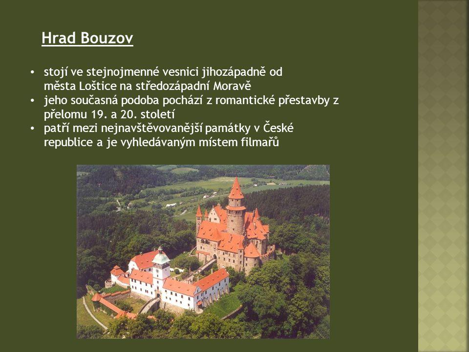 Hrad Bouzov stojí ve stejnojmenné vesnici jihozápadně od města Loštice na středozápadní Moravě.