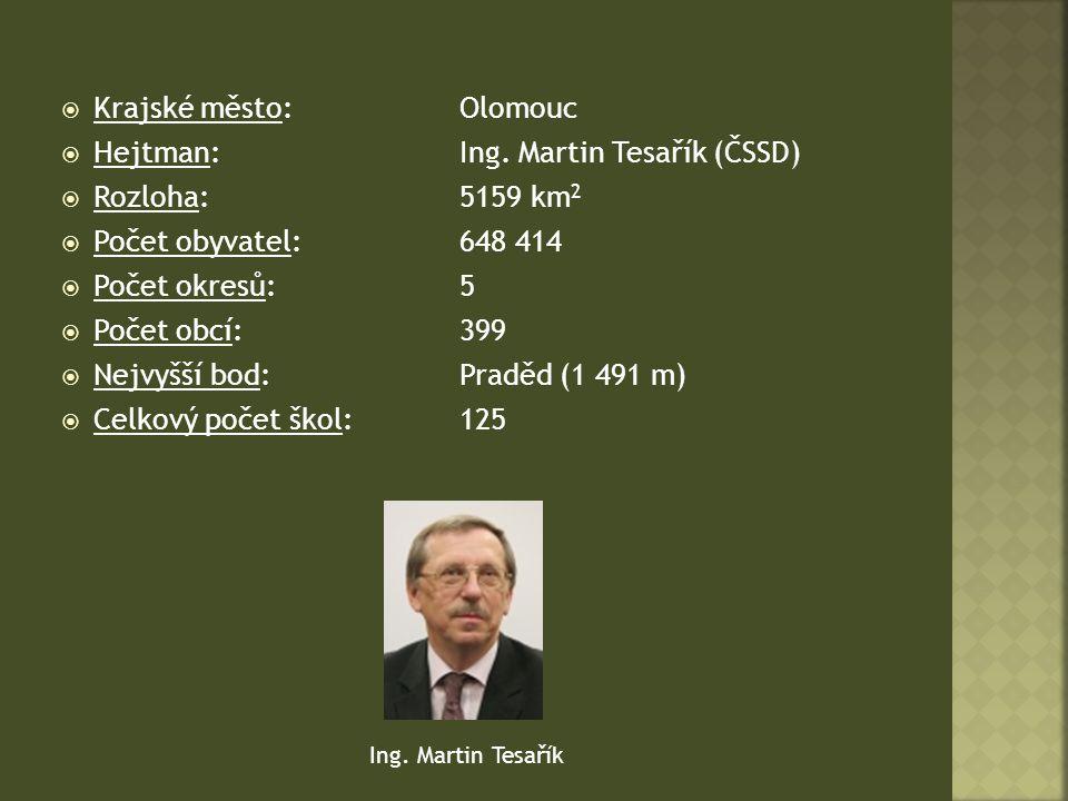 Krajské město: Olomouc Hejtman: Ing. Martin Tesařík (ČSSD)