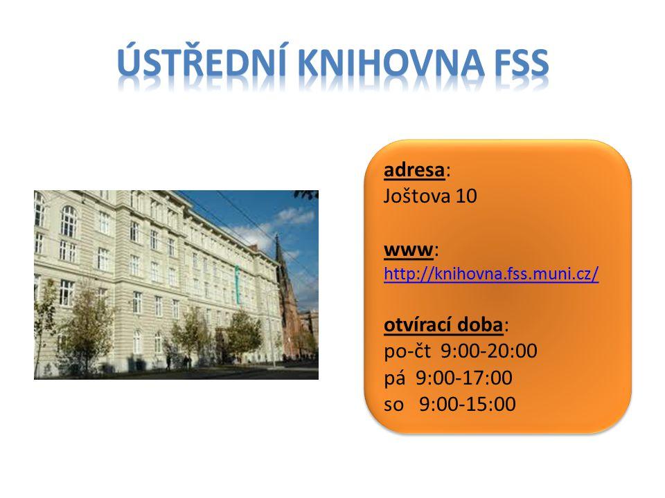 Ústřední Knihovna fss adresa: Joštova 10 www:
