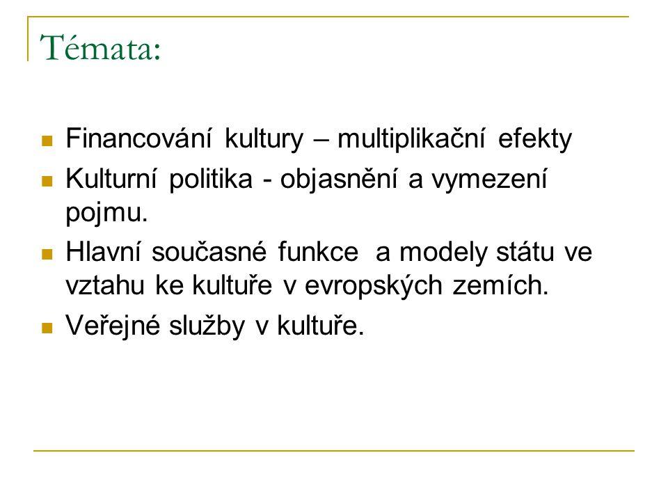 Témata: Financování kultury – multiplikační efekty