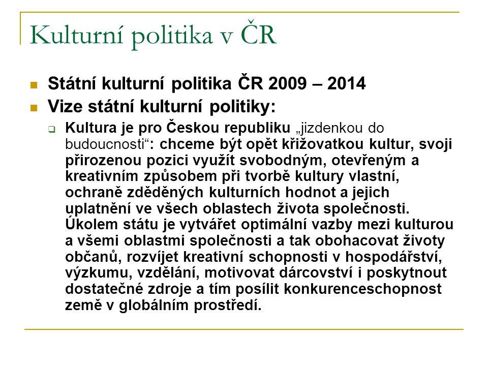 Kulturní politika v ČR Státní kulturní politika ČR 2009 – 2014