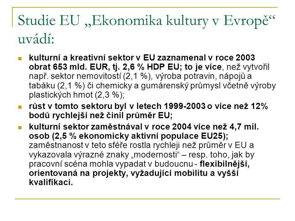 """Studie EU """"Ekonomika kultury v Evropě uvádí:"""