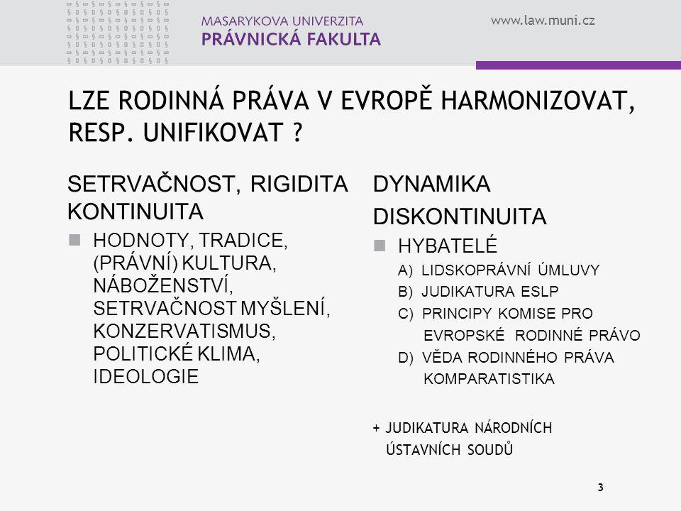 LZE RODINNÁ PRÁVA V EVROPĚ HARMONIZOVAT, RESP. UNIFIKOVAT