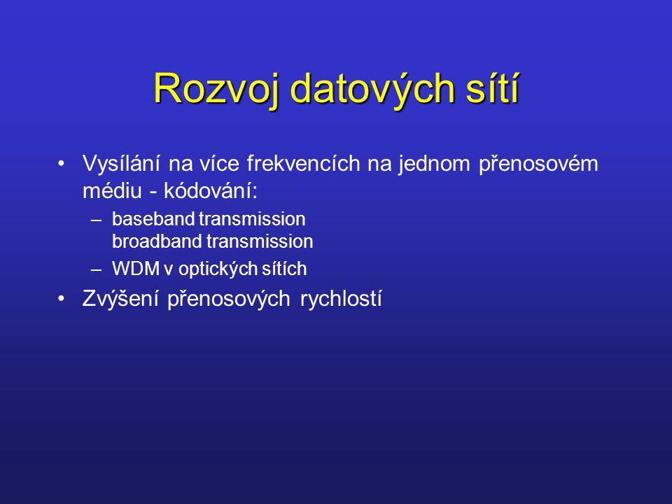 Rozvoj datových sítí Vysílání na více frekvencích na jednom přenosovém médiu - kódování: baseband transmission broadband transmission.