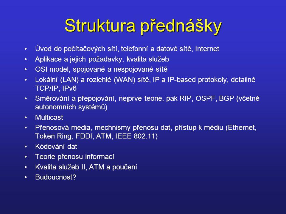 Struktura přednášky Úvod do počítačových sítí, telefonní a datové sítě, Internet. Aplikace a jejich požadavky, kvalita služeb.